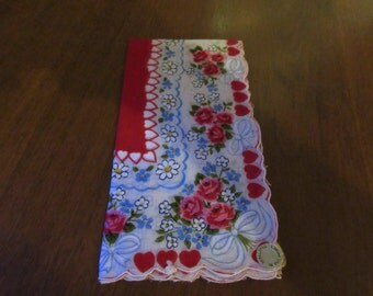 PHILIPINES HANDKERCHIEF with RED Hearts