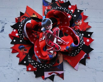 Gift for her Miraculous lady bug party favors Ladybug birthday Gift for girls Lady bug Miraculous headband baby bows Black red hair bows