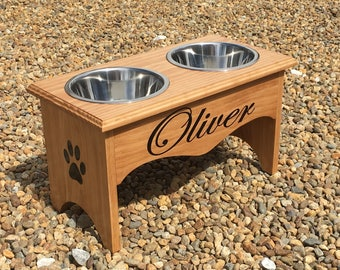 Raised Dog Feeder, Personalized Dog Feeder, Personalized Wooden Dog Bowl Stand, Raised Dog Bowl, Elevated Dog Bowl, Dog Bowl Stand