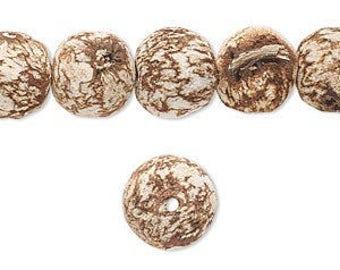 Mahogany Tree Seeds, Mahogany Beads, Cork, 2mm hole, Round 11mm, 8 each, D984