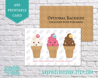 Printable Hope your Birthday is Extra Sweet 4x6 Card | Digital JPG File, Instant Download