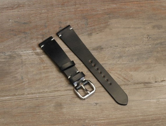 Custom Black Horween Shell Cordovan watch band - simple side stitch / all sizes