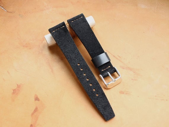Custom Vintage Style Black Suede leather watch band with simple stitching