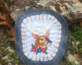 Hand Embroidered Deer Patch