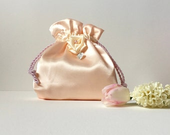 Wedding bag, bridal bag, flower girl bag, pink satin drawstring pouch, hand made bag, Mothers Day gift, women's gift, Mothers Day bag