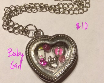 Baby Girl New Mom Mommy Mother Daughter Floating Charm Memory Locket