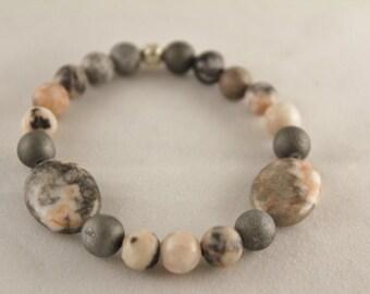 Rhodonite and Gray Titanium  Drusy Agate Gemstone bracelet