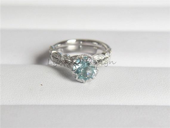 Vintage Aquamarine Ring Set Solid 14K White Gold Aquamarine Engagement Ring Set Aquamarine Bridal Ring Set Aquamarine Anniversary Ring Set