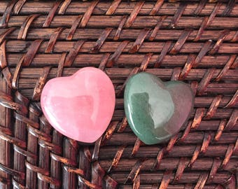 Love Crystal Healing Set/Gemstone Carved Hearts made w/ Rose Quartz and Aventurine