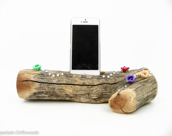 Decorated Aged and Untouched Phone Docking station, iPhone 6+ Dock, iPhone 5, 6 and 6+ Docking Station made from Aged Manzanita Wood