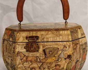 1970's Anton Pieck Decoupage Purse, Vintage Box Purse, Decopauge Handbag
