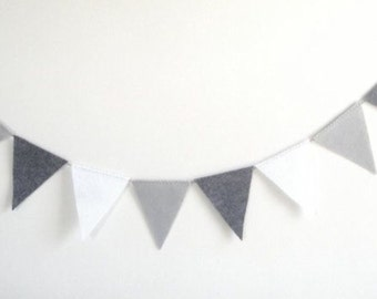 Dark Grey, Silver and White Handmade Bunting ideal for weddings