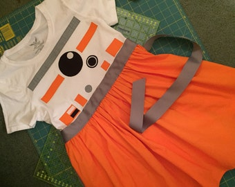 BB-8-inspired T-shirt dress for Big Girls-- sizes XS, S, M, L and XL (ages 6-12)