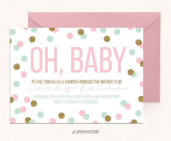 Mint confetti baby shower polka dot baby shower gold glitter il570xn filmwisefo