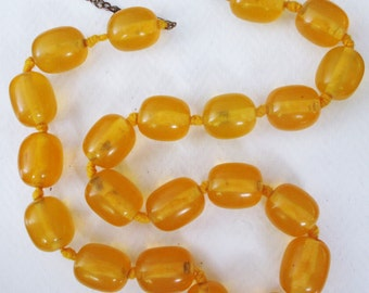 Phenonemal Art Deco Chunky Real Golden Amber Necklace