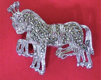 Amazing Vintage Marcasite Circus Horses Brooch