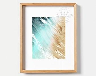 Abstract art PRINTABLE art instant download,Tropical print art,Ocean print,abstract print,tropical art,beach decor,beach print,turquoise art