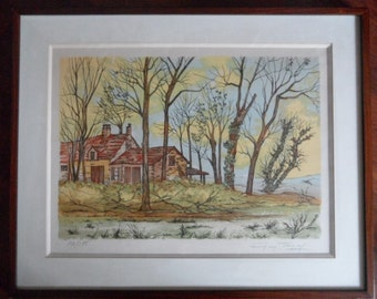 FRANCE - Landscape campaign French - signed lithograph G.TAYAL No. 154/175