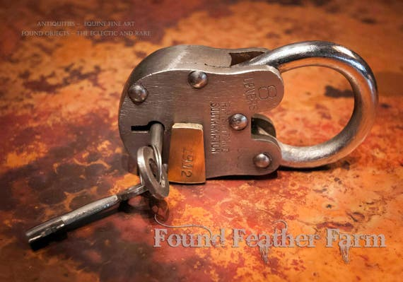Steel and Brass Vintage Padlock with Keys