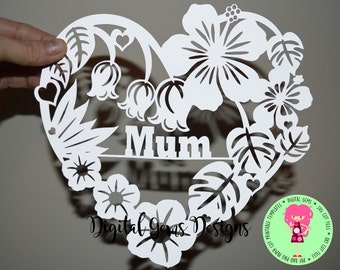 Mum Heart Flower paper cut svg / dxf / eps / files and pdf / png printable templates for hand cutting. Digital download. Commercial use ok.