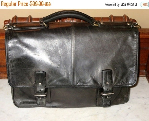 Football Days Sale Coach Full Flap Thompson Black Leather Multi Gusseted Briefcase Attache Laptop IPad Case - No Strap