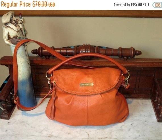 Football Days Sale Cynthia Rowley Sienna Orange Leather Handbag With Detachable Crossbody Strap - EUC