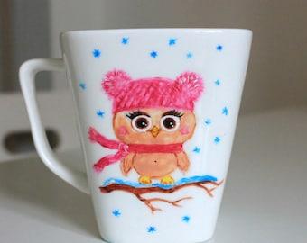 Mug Owl, Custom Tea Mug, Hand Painted
