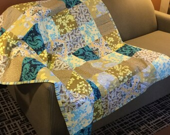 Handmade Large Lap Quilt - yellow and blue floral