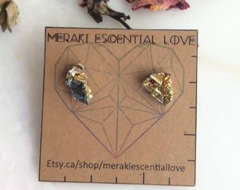 Bismuth Earrings. Bismuth Earring Studs. Boho Jewelry.