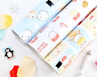 "SET OF 3 ROLLS // Dimsum Gift Wrap - ""Holiday Collection"" [Holiday Gift Wrap, Christmas Gift Wrap, Wrapping Paper Sheet]"