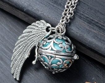 Retro Wing Angel Chime Ball Pendant Locket Antique Silver Harmony Bola Pregnancy Gift Angel Caller Mothers-to-Be Pregnancy Pendant For Baby