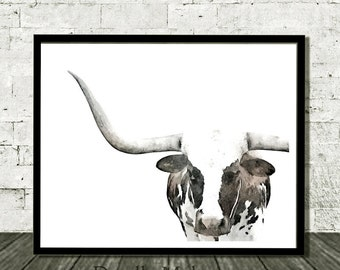 Longhorn Print, Longhorn Art, Longhorn Painting, Longhorn, Cow Print, Nursery Decor, Animal Print, Prints For Nursery, Digital Download