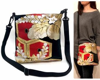 Kimono Obi Cross body Bag Upcycled From Vintage Japanese Kimono Obi, Mothers day, Obi Bag, gift for her, Japan, Shoulder bag,messenger bag
