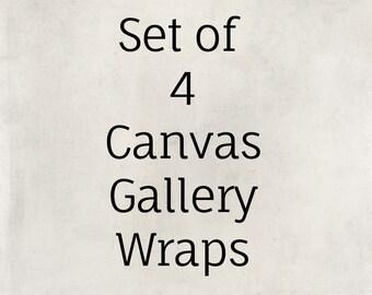 CANVAS ART:  Canvas Print Set, Set of 4, Ready to Hang Canvas, Ready to Hang Art, Canvas Gallery Wrap, Home Wall Art