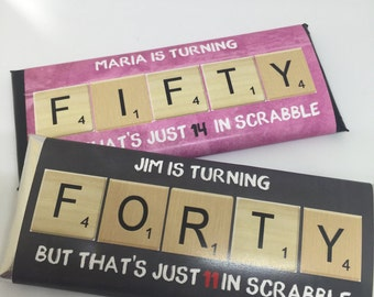 50 and fabulous, 40th birthday favors, Scrabble word gifts, Scrabble art, 50th birthday favors, 60th birthday, 40 birthday,  candy, 24 ct.