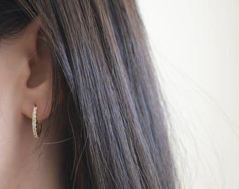 Small Hoop Earrings. Sterling Silver Cz Hoop Earrings. 18K Gold Plated Hoop Earrings. High Quality Cz Rose Gold Hoops.
