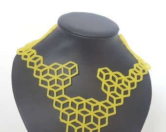 Yellow necklace, silicone jewelry, ochre necklace, geometric necklace, art necklace, lightweight jewelry, gift for her, abstract jewelry
