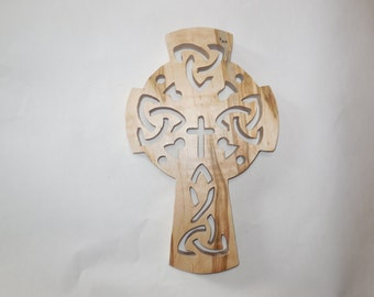 Celtic cross wall hanging, ambrosia maple wooden crosses wall decor, wall crucifix