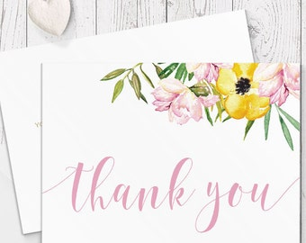 Pink and Gold Floral Wedding Thank Your Card, Free Colour Changes, Modern Calligraphy, Professionally Printed - Peach Perfect Australia