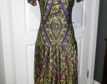 Vintage 1960's Mod Mini Scooter Drop Waist Pleated Dress Shift Floral  Metal Zip