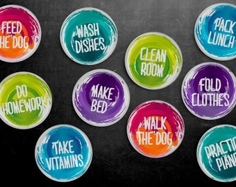 Chore Magnet Set - Chores, To Do List, Household Tasks, Kitchen, Responsibilities, Fridge Magnets, Chores, Father's Day Gift, Gift for Dad