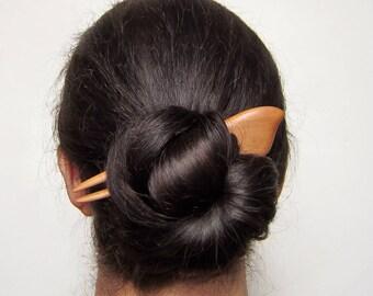 Wooden Hair Fork, hairfork, wood, hair stick wood, apple wood, haarforke