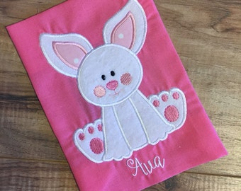 Easter Bunny with Bow and fur Shirt or Onesie Embroidered Personalized