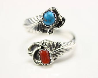 Native American Indian Jewelry Handmade Sterling Silver Turquoise And Coral Adjustable Ring