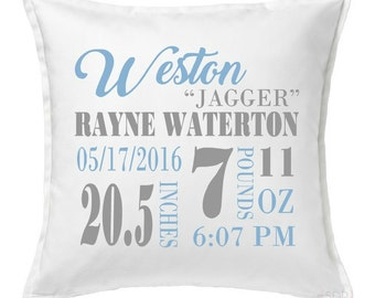Birth Stat Pillow - Nursery Decor - New Mom Gift - Personalized Pillow - Baby - Newborn Gift - Mom Gift - Baby Decor - Unique Gift - Modern