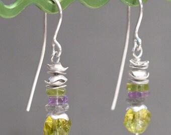 Silver 950, pearls, peridot, amethyst and labradorite earrings