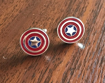 Captain America Cufflinks,Captain America gifts, Mens gifts, Silver cufflinks, super hero, Father's Day Gift Ideas