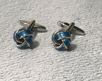 Blue knot cufflinks, blue and silver knot cufflinks, silver cufflinks, blue cufflinks, wedding cufflinks