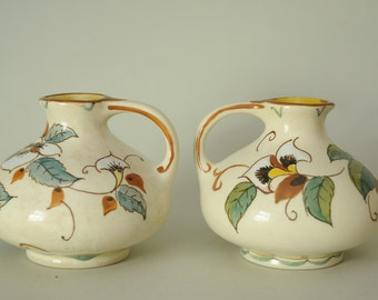 Pair of Zenith Gouda,Holland Pottery,Small Jug Vase,White,Flower,Vine,Arts And Crafts Feel,Art Nouveau,Floral,Earth Tones