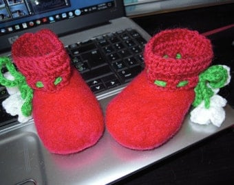 SOLD — Baby shoes, felted wool booties, eco friendly slippers, handmade felted wool, health benefits, warming